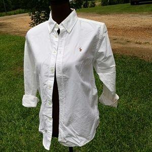 Ralph Lauren White Button Down Oxford Shirt